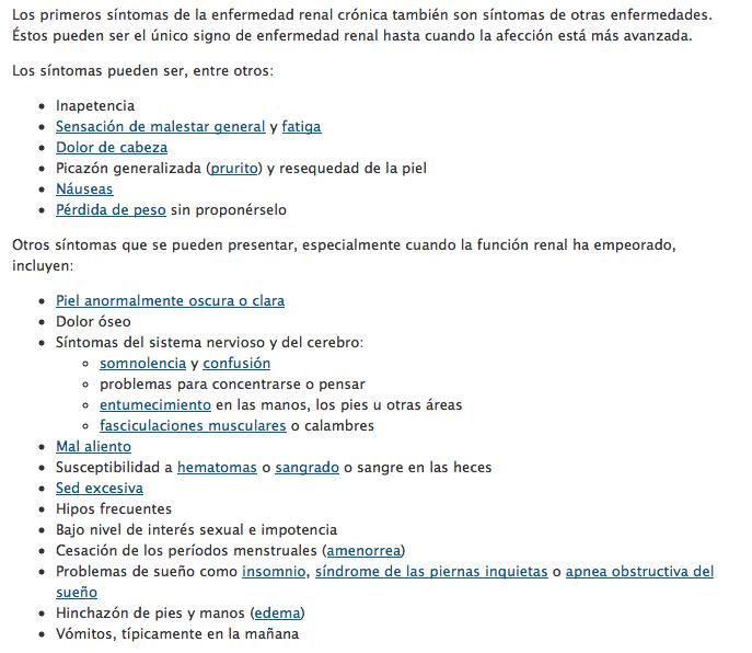 Síntomas de enfermedad renal